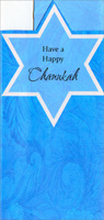 Die Cut Star Money Holder (1 card/1 envelope) - Hannukah Card - FRONT: Have a Happy Chanukah  INSIDE: Wish every day of your Chanukah is a bright and special as you!  Happy Chanukah