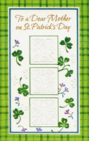 3 Embossed Squares: Mother (1 card/1 envelope) - St. Patrick's Day Card - FRONT: To a Dear Mother on St. Patrick's Day  INSIDE: There's a touch as gentle as the Irish breeze, There's a smile as warm as the Irish sun, There's a love as lasting as Ireland itself�  And they all belong to a special someone Who loves with a warmth that lasts all life through�  And, Mother, that someone is you.  Happy St. Patrick's Day With Love