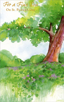 Watercolor Tree: Son (1 card/1 envelope) - St. Patrick's Day Card - FRONT: For a Fine Son On St. Patrick's Day  INSIDE: In all the world there couldn't be a son as fine as you, Hope St. Patrick's Day will bring some Irish smiles and good luck, too!