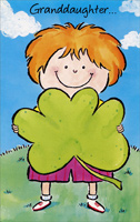Girl with Shamrock: Granddaughter (1 card/1 envelope) - St. Patrick's Day Card - FRONT: Granddaughter�  INSIDE: Picked this out especially for you and if the wish it brings comes true, St. Patrick's Day will be happy for you!  Have Lots of Fun, Honey