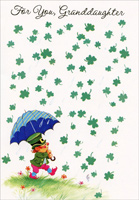Raining Shamrocks: Granddaughter (1 card/1 envelope) - St. Patrick's Day Card - FRONT: For You, Granddaughter  INSIDE: Here's a wish for every shamrock that grows on St. Patrick's Day this year�  Just because you're wonderful, just because you're dear!  Happy St. Patrick's Day - Happiness Always - Love and Hugs