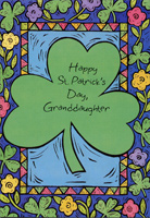 Large Shamrock: Granddaughter (1 card/1 envelope) - St. Patrick's Day Card - FRONT: Happy St. Patrick's Day, Granddaughter  INSIDE: We've shared a million and one golden moments, and you've given a bouquet of memories to last a lifetime.  There's a part of you in everything that's beautiful about this world.  Just wanted you to know.  Happy St. Patrick's Day