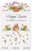 Basket, Bunny, and Flowers (1 card/1 envelope) - Easter Card - FRONT: Happy Easter - Our friendship is so special to me  INSIDE: As comforting as chocolate, as comfortable as bunny slippers, as heartwarming as a hug�our friendship is a precious gift. With Love, at Easter