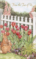 Rabbits and Tulips: From Two of Us (1 card/1 envelope)  Easter Card