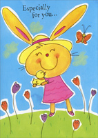 Bunny Holding Duckling (1 card/1 envelope) - Easter Card