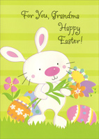 Cute Embossed Bunny Holding Flowers: Grandma (1 card/1 envelope)  Easter Card