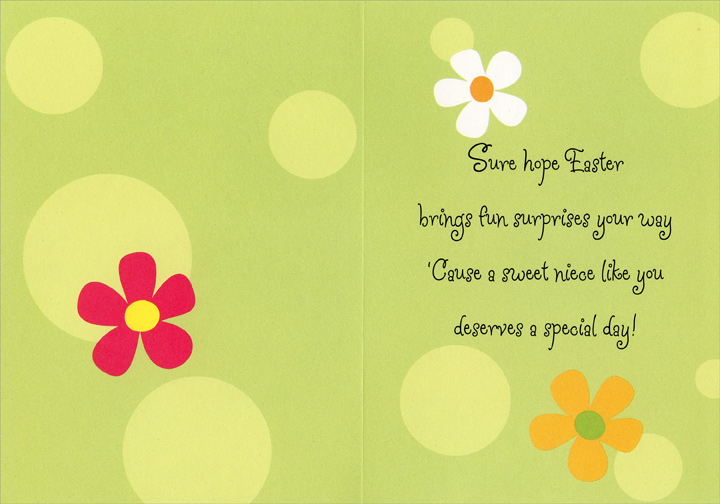 Glitter Chick in Cracked Egg: Niece (1 card/1 envelope) Easter Card - FRONT: Happy Easter to a Sweetie of a Niece  INSIDE: Sure hope Easter brings fun and surprises your way 'Cause a sweet niece like you deserves a special day!