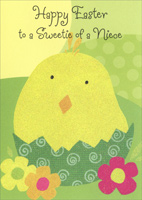 Glitter Chick in Cracked Egg: Niece (1 card/1 envelope)  Easter Card