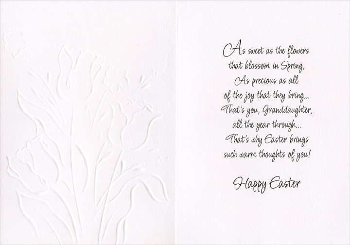 White Embossed Tulips: Granddaughter (1 card/1 envelope) Easter Card - FRONT: For a Dear Granddaughter With Love at Easter  INSIDE: As sweet as the flowers that blossom in Spring, As precious as all of the joy that they bring� That's you, granddaughter, all the year through� That's why Easter brings such warm thoughts of you! Happy Easter