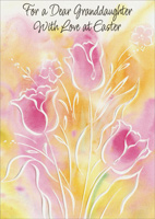 White Embossed Tulips: Granddaughter (1 card/1 envelope) - Easter Card