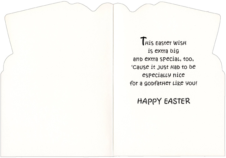 Big & Small Bunny Carrying Eggs: Godfather (1 card/1 envelope) Easter Card - FRONT: An Easter Wish, Godfather  INSIDE: This Easter Wish is extra big and extra special, too, 'cause it just had to be especially nice for a Godfather like you! Happy Easter