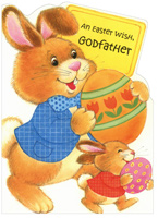 Big & Small Bunny Carrying Eggs: Godfather (1 card/1 envelope) - Easter Card - FRONT: An Easter Wish, Godfather  INSIDE: This Easter Wish is extra big and extra special, too, 'cause it just had to be especially nice for a Godfather like you! Happy Easter