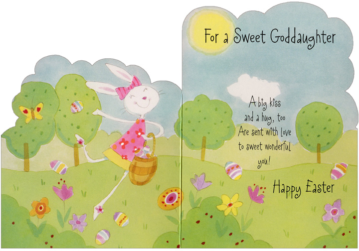 Die Cut Dancing Bunny with Butterfly: Goddaughter (1 card/1 envelope) Easter Card - FRONT: For a Sweet Goddaughter  INSIDE: A bug kiss and a hug, too Are sent with love to sweet wonderful you! Happy Easter