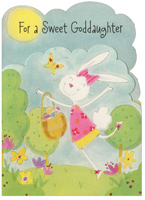 Die Cut Dancing Bunny with Butterfly: Goddaughter (1 card/1 envelope)  Easter Card