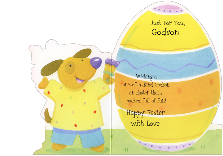 Die Cut Puppy Painting Egg: Godson (1 card/1 envelope) Easter Card - FRONT: Just For You, Godson  INSIDE: Wishing a one-of-a-kind Godson an Easter that's packed full of fun! Happy Easter with Love
