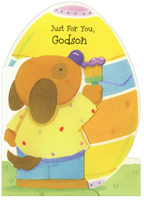 Die Cut Puppy Painting Egg: Godson (1 card/1 envelope)  Easter Card