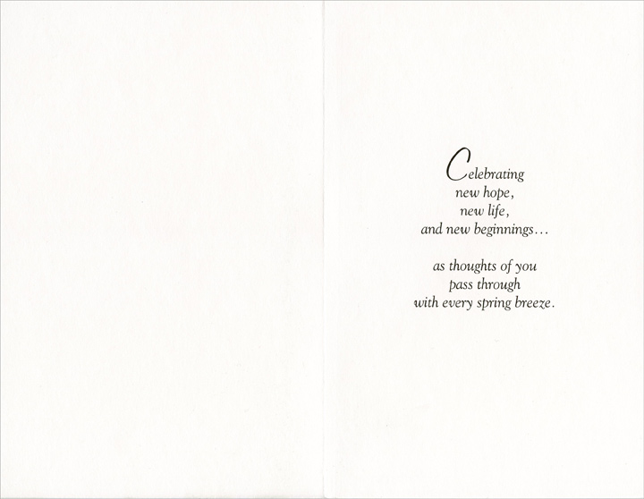 Pair of Tulips: Thoughts of You (1 card/1 envelope) Easter Card - FRONT: With Thoughts of You at Easter  INSIDE: Celebrating new hope, new life, and new beginnings� as thoughts of you pass through with every spring breeze.