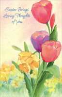 Tulips & Lilies with Die Cut Edges: Thoughts of You (1 card/1 envelope) - Easter Card - FRONT: Easter Brings Loving Thoughts of You  INSIDE: Springtime has burst into bloom, Filling the earth with its sweet perfume� And a beauty that will always be As precious as each memory, As dear as every loving thought of you. Happy Easter