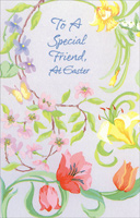 Tri-Fold Swirling Flowers: Special Friend (1 card/1 envelope) - Easter Card - FRONT: To a Special Friend, at Easter  INSIDE: With every spring flower in bloom, it seems yet another bit of earth is dressed in innocence. Friendship brings that kind of innocence to the heart. And in remembering the importance of love and faith this Easter, I'm reminded what beauty your friendship has brought to my life. I'm Thinking of You, My Friend. Happy Easter