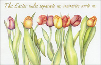 Embossed Tulips on White: Across the Miles (1 card/1 envelope) - Easter Card