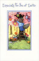 Squirrel Hanging Eggs on Tree (1 card/1 envelope) - Easter Card
