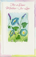 Embossed Blue Flowers: Mother-in-Law (1 card/1 envelope) - Easter Card - FRONT: For a Dear Mother-In-Law  INSIDE: This loving wish on Easter Is just another way of saying that you're close in heart today and every day. Happy Easter