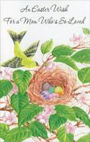 Easter Eggs in Bird Nest: Mom (1 card/1 envelope)  Easter Card