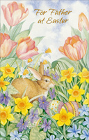 Rabbit and Eggs in Flowers: Father (1 card/1 envelope)  Easter Card