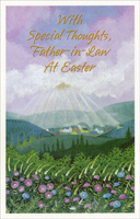 Sunbeams Shining on Town: Father-in-Law (1 card/1 envelope) - Easter Card - FRONT: With Special Thoughts, Father-in-Law At Easter  INSIDE: Like flowers blooming in meadows, Like rays of sun on a distant hill, Thoughts of you bring happiness� They always have� they always will. Happy Easter with Love