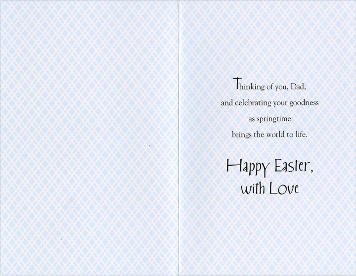 Tipped Basket and Eggs: Dad (1 card/1 envelope) - Easter Card - FRONT: Good Easter Wishes, Dad  INSIDE: Thinking of you, Dad, and celebrating your goodness as springtime brings the world to life. Happy Easter, with Love