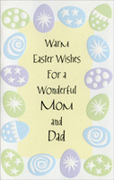 Embossed Pastel Eggs Border: Mom & Dad (1 card/1 envelope) - Easter Card