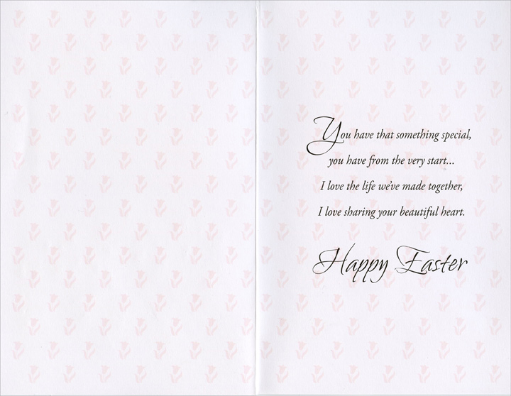 Three Rabbits in Sea of Tulips: Wife (1 card/1 envelope) Easter Card - FRONT: For My Wife With Love at Easter  INSIDE: You have that something special, you have from the very start� I love the life we've made together, I love sharing your beautiful heart. Happy Easter