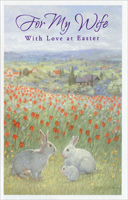 Three Rabbits in Sea of Tulips: Wife (1 card/1 envelope)  Easter Card