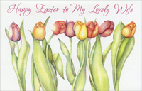 Embossed Tulips on White: Wife (1 card/1 envelope)  Easter Card