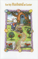 Easter Bunny with Wheelbarrow: Husband (1 card/1 envelope) - Easter Card - FRONT: For My Husband at Easter  INSIDE: I love our life together I'm grateful for all you do No where am I happier than home in the arms of you. With All My Love