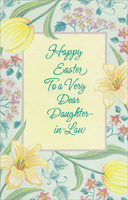 Flowers and Blue Foil Lettering: Daughter-in-Law (1 card/1 envelope) - Easter Card