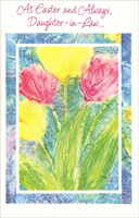 Yellow and Pink Flower Wash: Daughter-in-Law (1 card/1 envelope)  Easter Card