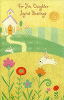Glitter Church on Rolling Hills: Daughter (1 card/1 envelope) - Easter Card - FRONT: For You, Daughter Joyous Blessings  INSIDE: May you be blessed with every joy that love can bring, and may everything you hope for in your heart of hearts be fulfilled in a wonderful way. Happy Easter - ��the God of hope fill you with all joy and peace in believing�� Romans 15:13 KJV