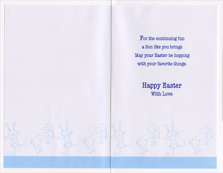 2 Blue Foil Bunnies: Son (1 card/1 envelope) - Easter Card - FRONT: An Easter Wish for you, Son  INSIDE: For the continuing fun a Son like you brings May your Easter be hopping with your favorite things. Happy Easter With Love