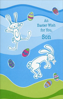 2 Blue Foil Bunnies: Son (1 card/1 envelope) - Easter Card