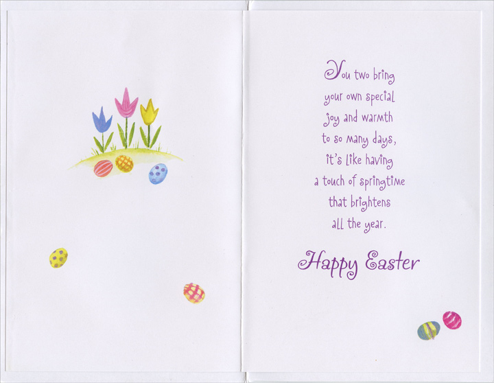 Pink Home and White Fence: Daughter-in-Law (1 card/1 envelope) Easter Card - FRONT: To a Dear Son and Daughter-in-Law  INSIDE: You two bring your own special joy and warmth to so many days, it's like having a touch of springtime that brightens all the year. Happy Easter