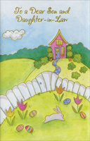 Pink Home and White Fence: Daughter-in-Law (1 card/1 envelope)  Easter Card