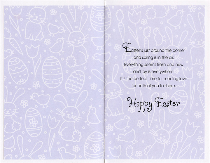 Purple Foil Tulips, Bunnies, and Eggs: Son & Wife (1 card/1 envelope) Easter Card - FRONT: For a Dear Son and His Wife with Love at Easter  INSIDE: Easter's just around the corner and spring is in the air. Everything seems fresh and new and joy is everywhere. It's the perfect time for sending love for both of you to share. Happy Easter