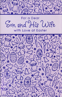 Purple Foil Tulips, Bunnies, and Eggs: Son & Wife (1 card/1 envelope)  Easter Card