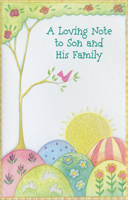 Glitter Sunrise & Single Tree: Son & Family (1 card/1 envelope)  Easter Card