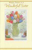 Tulips in Glass Vase: Sister (1 card/1 envelope) - Easter Card - FRONT: Happy Easter to a Wonderful Sister  INSIDE: Girls together Friends forever Sisters from the start, Special times and moments spent all cherished in my heart. Have a bright and beautiful Easter!
