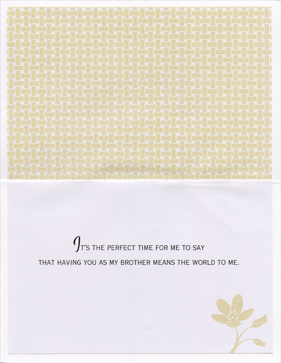 Gold Foil Basket and Border: Brother (1 card/1 envelope) Easter Card - FRONT: Happy Easter to My Brother - Easter is a time to reflect on nature's wonders and everything positive and good in our lives.  INSIDE: It's the perfect time for me to say that having you as my brother means the world to me.