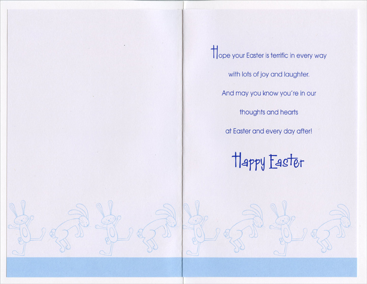 2 Blue Foil Bunnies: Brother (1 card/1 envelope) Easter Card - FRONT: Easter Wishes for a Special Brother and His Family  INSIDE: Hope your Easter is terrific in every way with lots of joy and laughter. And may you know you're in our thoughts and hearts at Easter and every day after! Happy Easter