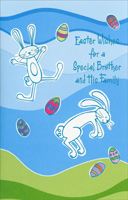 2 Blue Foil Bunnies: Brother (1 card/1 envelope) - Easter Card - FRONT: Easter Wishes for a Special Brother and His Family  INSIDE: Hope your Easter is terrific in every way with lots of joy and laughter. And may you know you're in our thoughts and hearts at Easter and every day after! Happy Easter