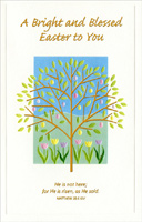 Gold Foil Tree over Tulips (1 card/1 envelope) - Easter Card